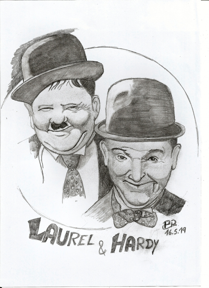 Oliver Hardy, Stan Laurel by Patoux